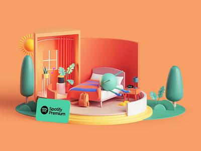 Spotify Premium Campaign animation motion design motion adobe tarka colors style isometric music apple app spotify set branding cinema4d render design illustration c4d 3d