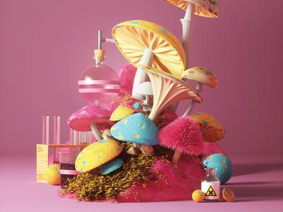 Mushrooms acid abstract mushrooms cover c4d render illustration print ad 3d