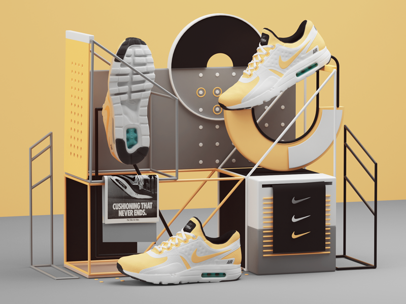 Nike Air Max Zero vray shoe render print nike illustration commercial city c4d airmax ad 3d