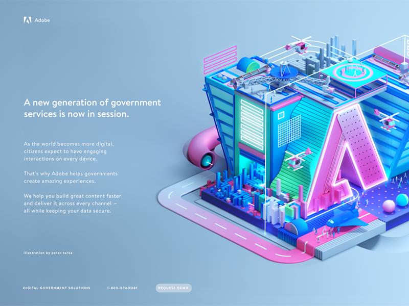 Adobe Government photoshop logo header web c4d design isometric illustration 3d flat semi adobe