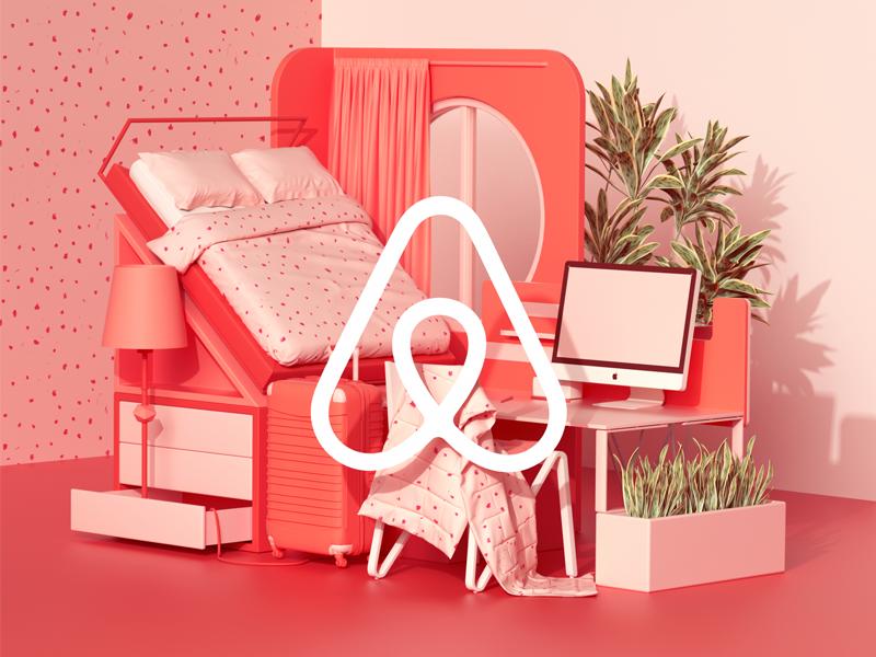 Airbnb design c4d illustration geometric colors animation set 3d