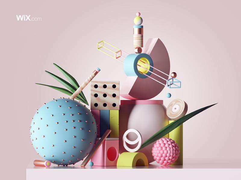 WIX.com design c4d illustration set web animation motion 3d