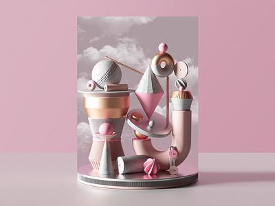 Totem design c4d illustration geometric colors animation set 3d
