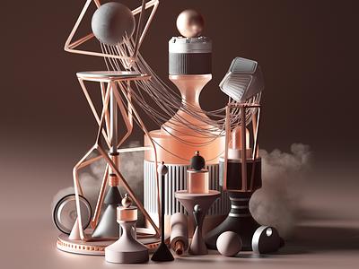 Arrival design c4d illustration geometric colors animation set 3d