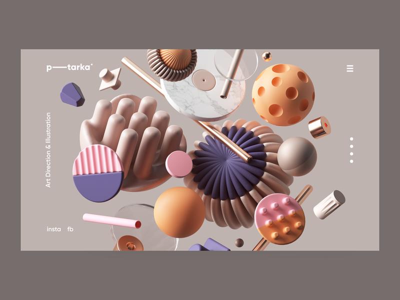 P-T Personal Branding web ux vector geometry colors cinema4d abstract geometric typography branding adobe logo ui cgi render set design illustration c4d 3d
