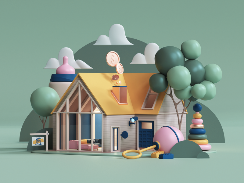 Touchstone Bank- Busy Mom home motion commercial branding adobe geometry colors photoshop ui abstract geometric animation cinema4d cgi render set design illustration c4d 3d