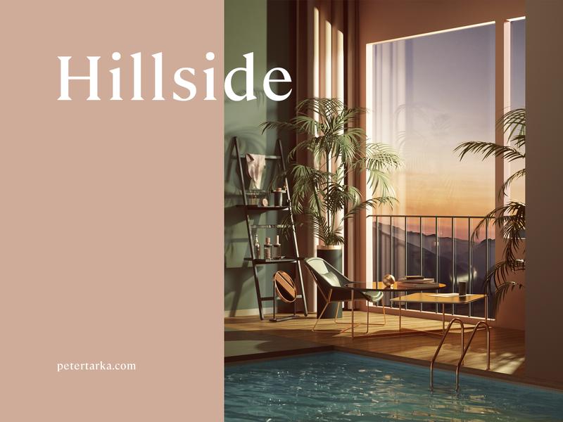 Hillside branding print home architecture commercial geometry adobe colors photoshop abstract geometric animation cinema4d cgi render set design illustration c4d 3d