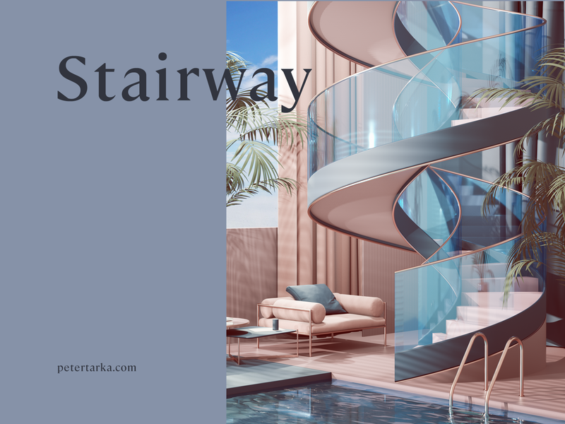 Stairway print branding advertising commercial home architecture photoshop colors geometry adobe abstract geometric cinema4d cgi render set design illustration c4d 3d