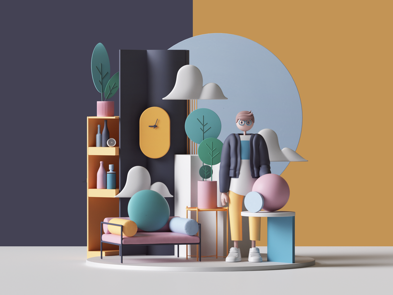 Home character 3d art home adobe photoshop architecture logo ui colors geometry abstract geometric cinema4d cgi render set design illustration c4d 3d