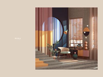 May yellow pink colors furniture apartment octanerender octane interiordesign interior architecture geometric abstract cinema4d cgi render set design illustration c4d 3d