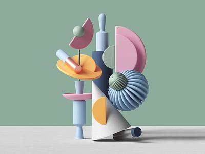Forms adobe digital studio octanerender octane web minimal colors palette cinema4d abstract geometric ui cgi render set design illustration c4d 3d