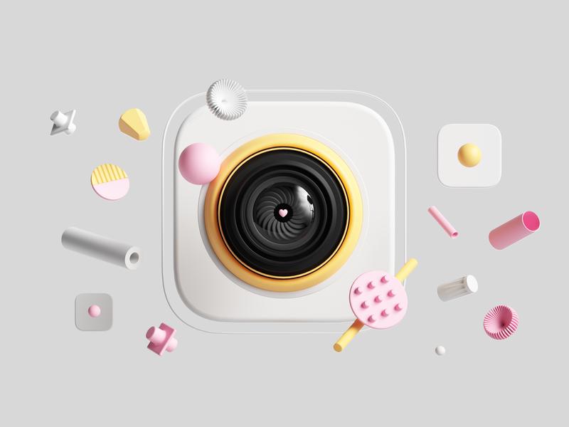 Instagram uiux abstract geometric octanerender octane cinema4d render set design illustration c4d 3d icondesign icon camera uidesign web ui socialmedia instagram