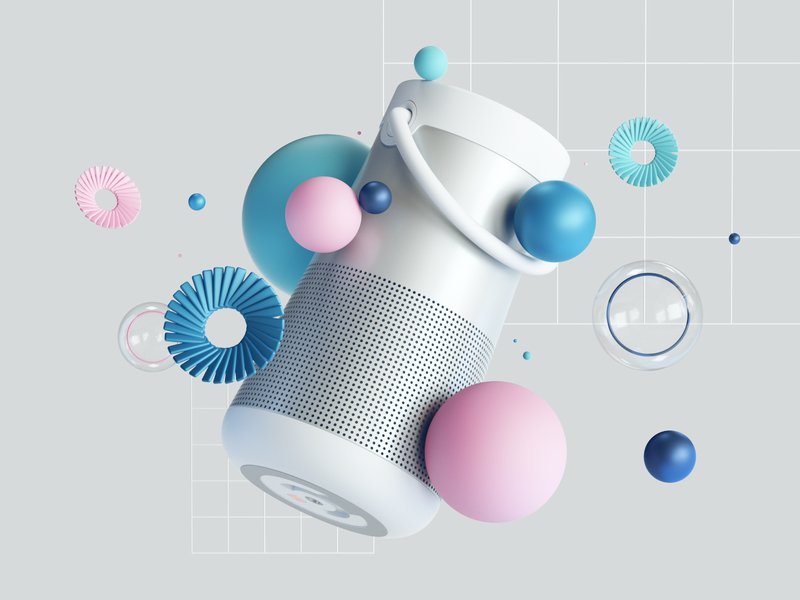 BOSE SoundLink Revolve+ productdesign simple minimal bluetooth sounds web octanerender octane colors design render abstract cinema4d ui illustration c4d 3d product
