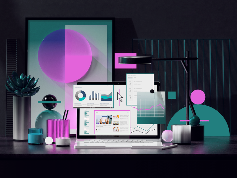 Microsoft SharePoint digital aftereffects adobe photoshop adobe render octanerender octane abstract desk cinema4d web office uiux surface microsfot branding ui illustration c4d 3d