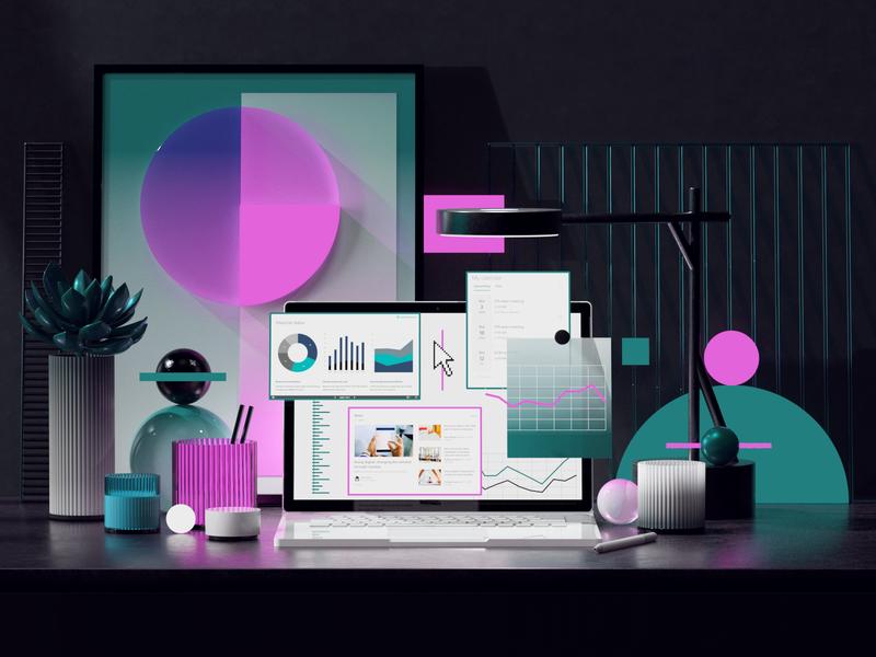 Microsoft SharePoint digital aftereffects adobe photoshop adobe render octanerender octane abstract desk cinema4d web office uiux surface microsfot branding ui illustration c4d 3d