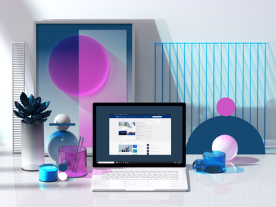 Microsoft SharePoint animation web ux ui laptop surface microsoft office microsoft color redshift geometry colors geometric abstract cinema4d render design illustration c4d 3d