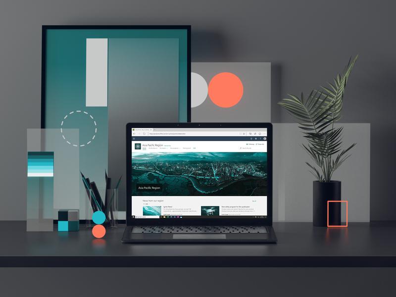 Microsoft SharePoint laptop office surface windows microsoft animation ux web ui cgi set render colors geometric abstract cinema4d design illustration c4d 3d