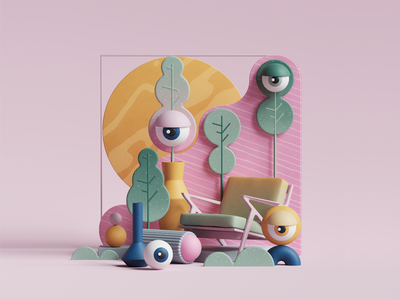 Eye Candy ui uiux web petertarka plants nature eye designs geometric abstract cgi cinema4d set render design illustration c4d 3d