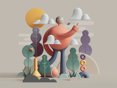 It's Foggy Outside pattern digital 3dart petertarka web uiux ui character design character colors adobe geometric cgi abstract render design illustration cinema4d c4d 3d