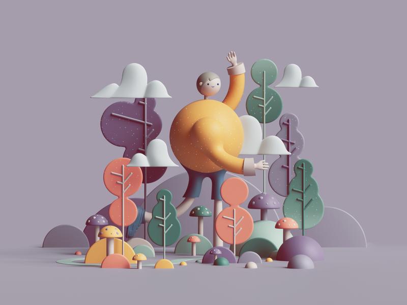 Walk in the Woods nature petertarka octane render octanerender octane characterdesign character webdesign web uiux ui geometry colors geometric abstract illustration design cinema4d c4d 3d