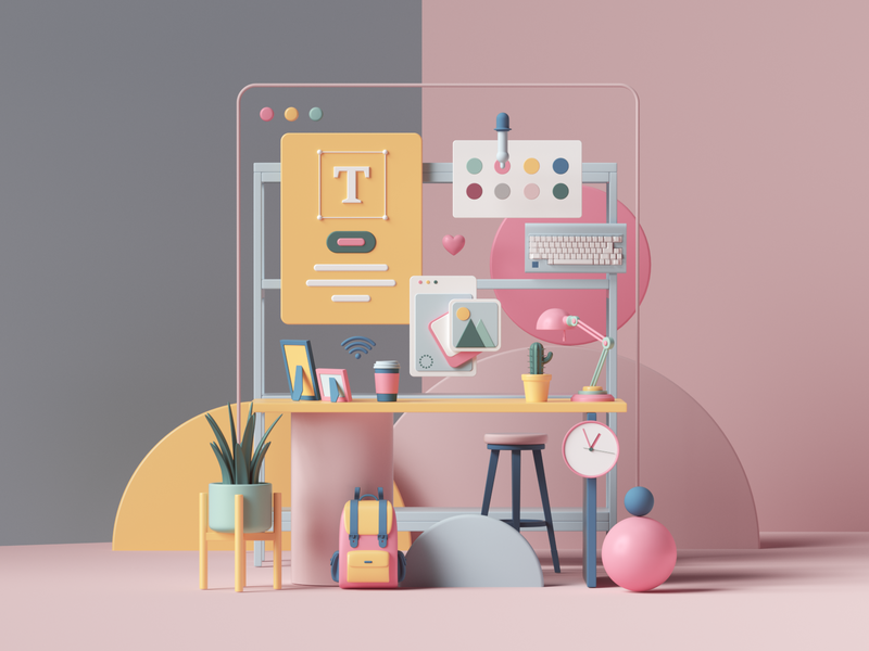Workspace space petertarka uiux ui typography web designer workspace desk colors adobe cgi abstract geometric render design illustration cinema4d c4d 3d