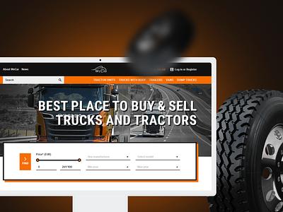 WeCar website brutalism orange ux  ui uxui uiux website design web design webdesign car tractor truck web inspiration creative agency website ideas design ux ui