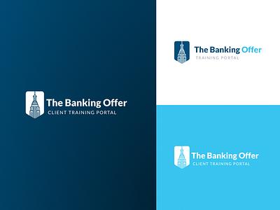 TheBankingOffer logo banking logo bank logo training training portal architecture logo building empire state building blue theme blue ui investment banking bank branding logo