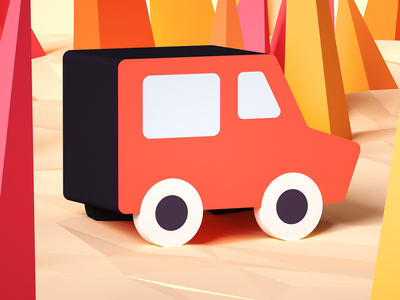 Ice cream truck #2 branding design cartoon lowpolyart octane low poly car isometric game illustration render gamedev indiegame 3d tolitt lowpoly c4d