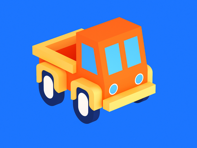 Pickup doodle cartoon car cinema4d octane gamedev indiegame 3d tolitt c4d render lowpoly isometric