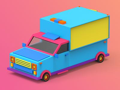 1/4 Car design unity3d illustration indiegame makedev c4d 3d color render tolitt gamedev lowpoly
