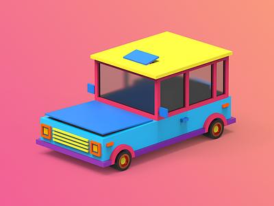 2/4 Car lowpoly gamedev tolitt render color clayrender 3d c4d makedev indiegame