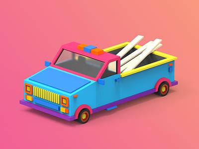 3/4 Car indiegame makedev c4d 3d clayrender color render tolitt gamedev lowpoly