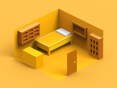 Rebound Yellow Room rebound tolitt lowpoly clayrender c4d 3d isometric illustration geometric