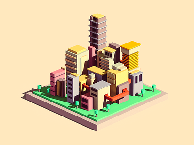 Settlement #1 render 3d house building settlement city isometry tolitt needwork resume blocking blocktober