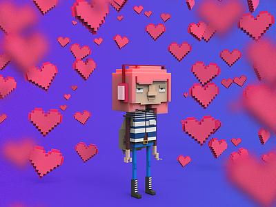 Valentine and Love character lowpoly avatar indiegame makedev c4d 3d clayrender color render tolitt gamedev