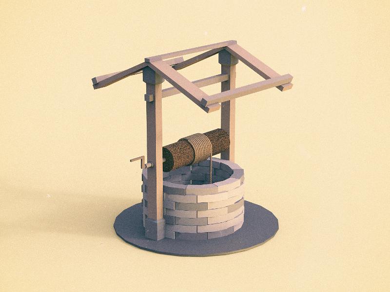 Water well clayrender unity 3d render indiegame gamedev maya keyshot lowpoly tolitt