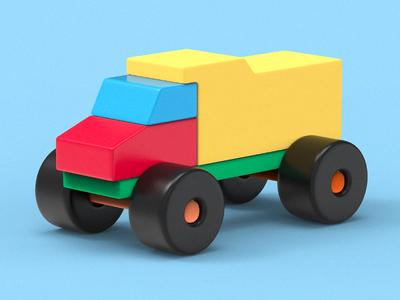 Baby truck truck keyshot render clayrender color illustration indiegame game c4d lowpoly tolitt 3d