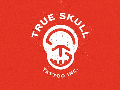 True Skull Tattoo inc. branding mark signet minimal letters monogram skull true logo tattoo