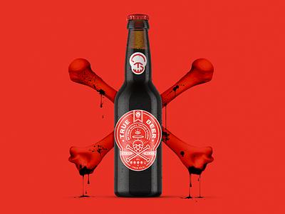 True Beer bones packaging branding illustration logo old school skull hops label design craft beer beer art