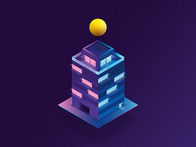 Isometric apartment house apartment pictogram icon gradient isometria isometric design minimal illustration