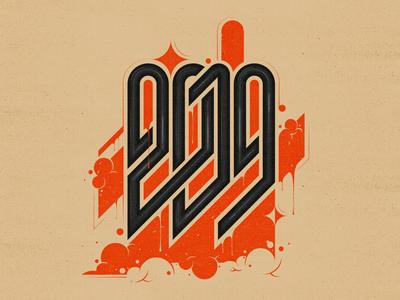 2019 logo flat number letters icon 2d digital graffiti poster typography monogram logo monogram design vector illustration