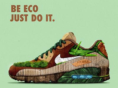 Eco Nike Air Max 90 justdoit shoes visual key visual nike air nike air max nike digital design illustration eco