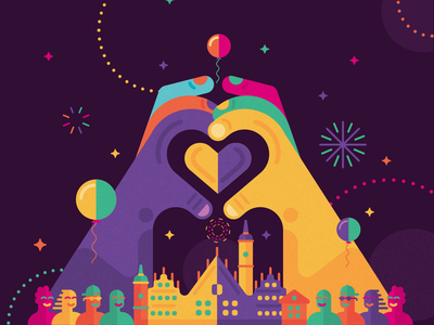 New Year's Eve Wroclaw party city people hand heart visual identity event festival pictogram vector branding minimal illustration icon key visual poland wroclaw 2019 2018 new years eve