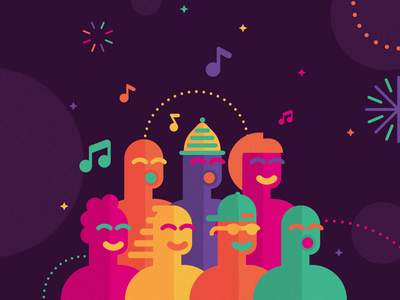 New Year's Eve Wroclaw -choir party music wroclaw respect people identity city key visual pictogram vector icon branding minimal illustration choir