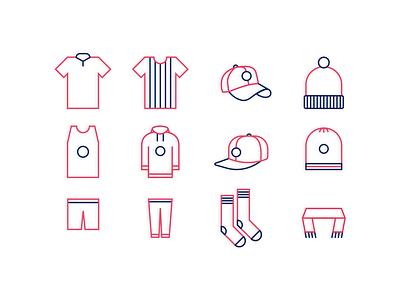 Sportswear icons tshirt socks pictogram symbol clothes sportwear cap branding sport icon icons