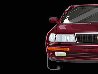 Lexus LS 400 front detail classic auto ls400 lexus car vector illustration