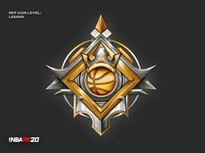 NBA 2K20 - Legend rep icon detail crown nba2k20 nba basketball legend sport ui signet design pictogram vector logo illustration icon