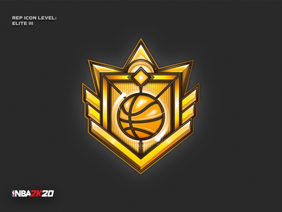 NBA 2K20 - Elite III rep icon game basketball elite nba2k20 nba digital detail sport signet design pictogram vector logo icon illustration