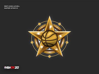 NBA 2K20 - Super Star III rep icon game star nba2k20 nba basketball detail signet digital ui pictogram vector logo icon illustration