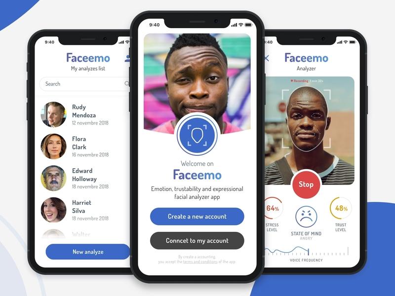 Faceemo - Facial recognition app challenge application ios recognition facial app ux ui design
